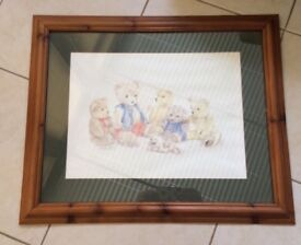 Teddy bear framed picture