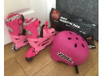 In line skates, helmet and safety pads