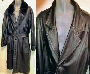 MENS LEATHER & MINK Trench Coat  44 46 Large Special Long Heavy Cowhide Canada Detachable Real Fur Collar Raincoat Goth