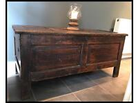 ANTIQUE PINE 18th CENTURY PANELLED COFFER/CHEST/TRUNK