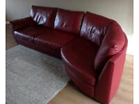 Red real leather corner sofa