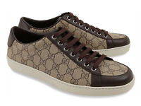 Gucci brown and beige canvas and leather trainers in size 7