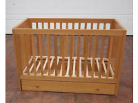 Mothercare Kyoto cot with drawer that slides underneath on castors