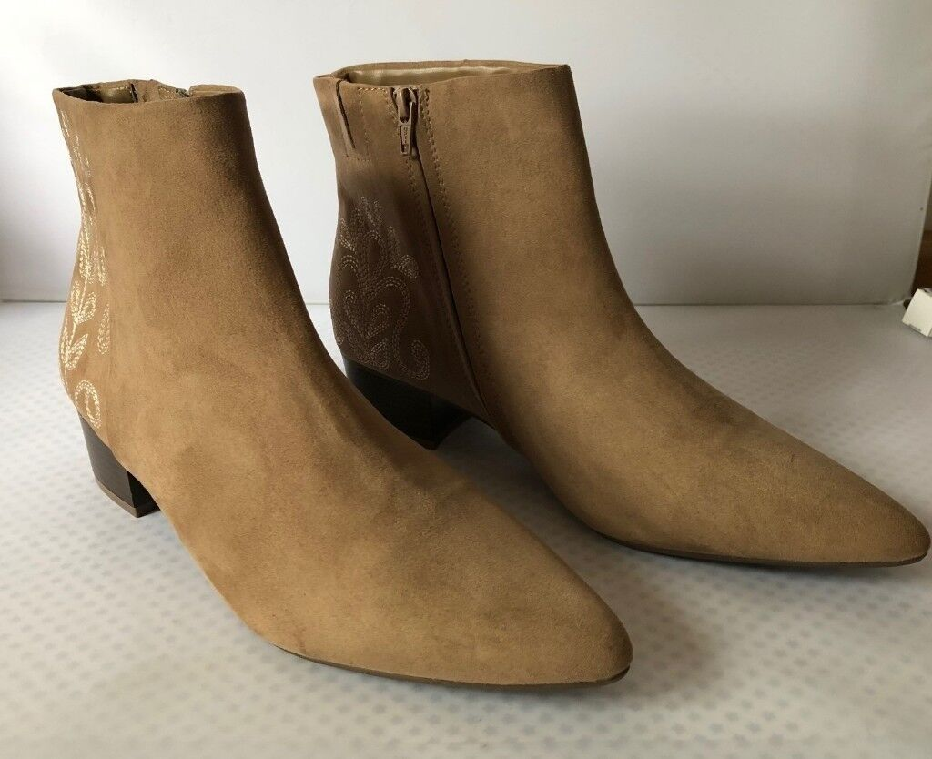 Ms Taupe Embroidered Ankle Boots Faux Suede Size Uk 8 Eu 42 In Detail