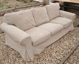 Ikea comfy beige three-seater sofa, very good condition, clean, not much used, removable covers