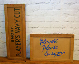 Players cardboard sign box decor art advertising mancave garage metal vintage pub kitchen antique
