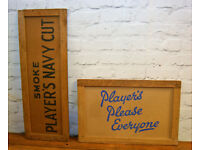 Players cardboard sign box decor art advertising mancave garage metal vintage pub kitchen antique