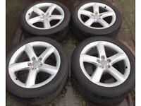 "19"" Genuine Audi A8 Alloy Wheels & Tyres 255/45R19 5x112 Fit VW Phaeton T4 Transporter Mercedes Vito"