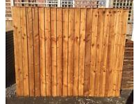 💧New Pressure Treated Brown Feather Edge Flat Top Fence Panels