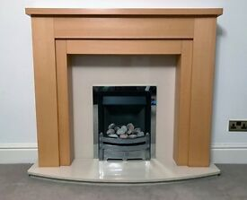 Living Flame Gas Fire, plus Marble Mantle, Hearth and Surround