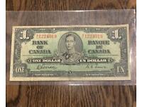 1937 Bank of Canada $1 Dollars Banknote George VI