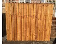 🃏Brown Feather Edge Flat Top Fence Panels ~ Tanalised