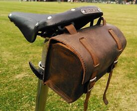 New Vintage Genuine Leather Saddle Handlebar Bag ANTIQUE BROWN for bicycle FREE SHIPPING