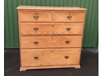 Pine Chest of Drawers. Large Solid Original Old. Antique.