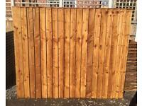 👑New Pressure Treated Brown Feather Edge Straight Top Fence Panels•