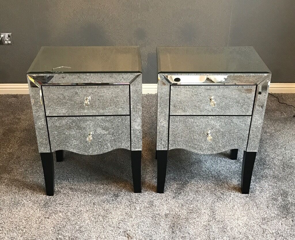 Pair or mirrored gatsby bedside tables from next in for Mirror bedside table