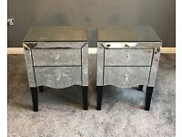 Pair or mirrored Gatsby bedside tables from Next