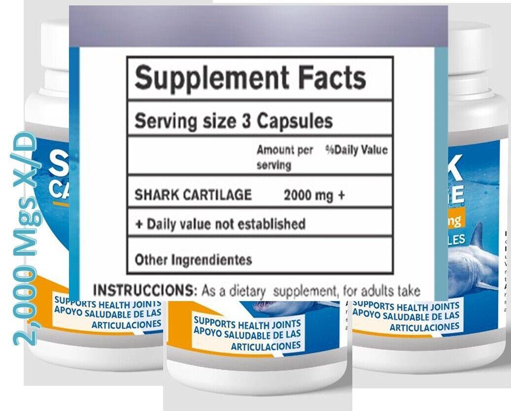 2 Shark Cartilage 2000mg x/d 200caps Defense System Cartilago de Tiburon natural 1
