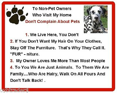 Funny Dog Dalmatian House Rules Refrigerator / Magnet Gift Card Insert