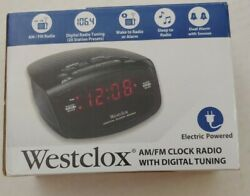 Westclox Red LED Display Dual Alarm Clock Radio with Easy Set Radio Tuning NIB