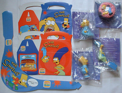 1998 UK Burger King THE SIMPSONS Happy Meal toy premium set MIP McDonalds