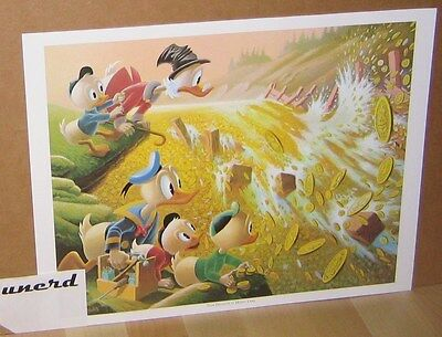 Carl Barks Kunstdruck: Dam Disaster at Money Lake - Scrooge McDuck Art Print