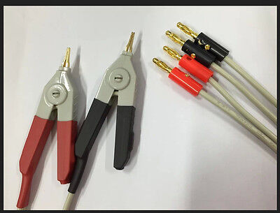 1 Set Kelvin Clip For Lcr Meter With 4 Banana Plug Test Wires 2 Alligator Clip