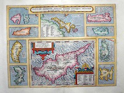 1603 (1584) Ortelius Map CYPRUS + GREEK ISLANDS Inset Maps Scholarly, Decorative