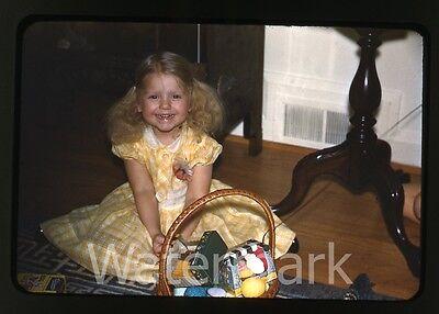 1950s  red border kodachrome Photo slide Girl Easter basket chocolate bunny
