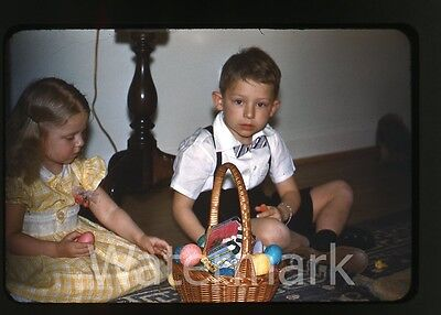 1950s  red border kodachrome Photo slide Boy and Girl Easter basket