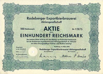 Radeberg Sachsen Radeberger Exportbierbrauerei Aktie 100 RM 1942