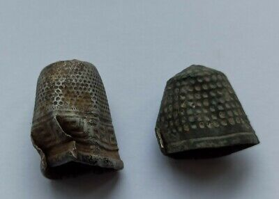 LOT OF 2 ANCIENT MEDIEVAL EUROPEAN THIMBLES 1000-1200 AD