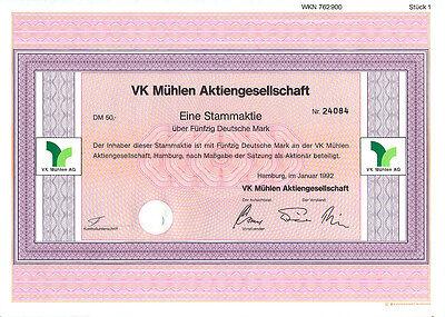 Hamburg VK Mühlen Stammaktie 50 DM 1992  Aktie