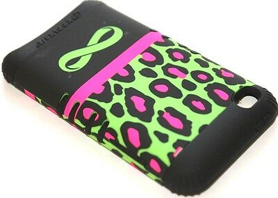 iPod Touch 4th Gen - HARD & SOFT RUBBER HYBRID CASE GREEN BLACK LEOPARD INFINITY Ipod Touch 4 Hybrid