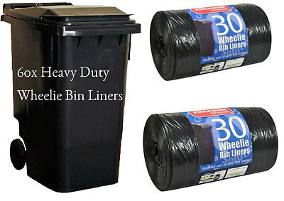 60 BLACK STD WHEELIE BIN LINERS STRONG REFUSE SACKS THICK BIG RUBBISH BAGS XXL