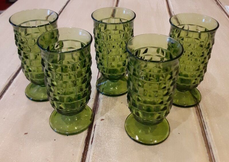 """Lot 5 Vintage COLONY CUBIST GREEN DRINKING GLASSES Footed Indiana Whitehall 5"""""""