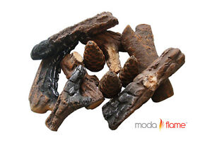 Moda Flame 9 PC Ceramic Fireplace Wood Log Set
