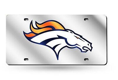 Denver Broncos SILVER Deluxe Laser Cut Acrylic Inlaid License Plate Tag Football Denver Broncos Silver Laser