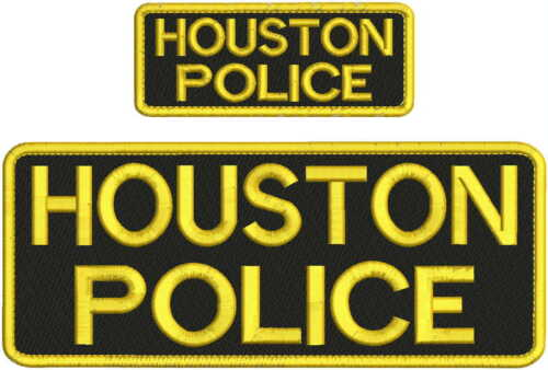 HOUSTON POLICE EMBROIDERY PATCH 4X10 AND 2X5 HOOK ON BACK BLK/GOLD