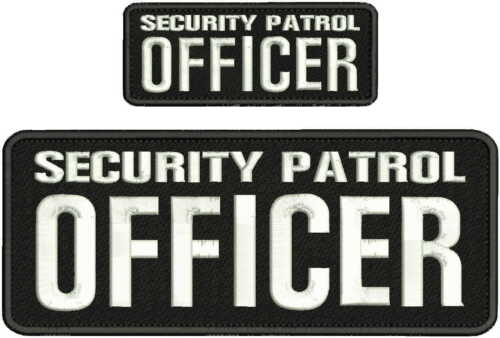 SECURITY PATROL OFFICER EMBROIDERY PATCH 4X10 & 2X5 HOOK ON BACK  BLK/WHITE