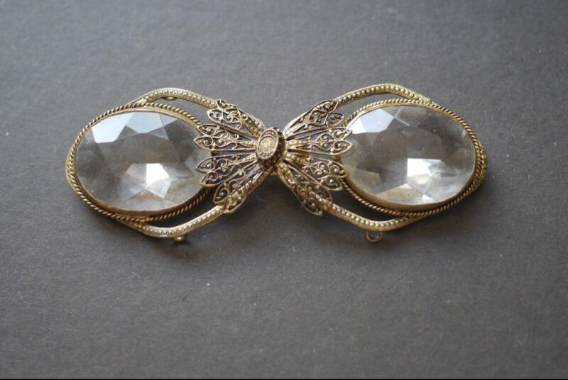 Antique Vintage Art Deco Czech Style BUCKLE Clear Faceted Stones Filigree