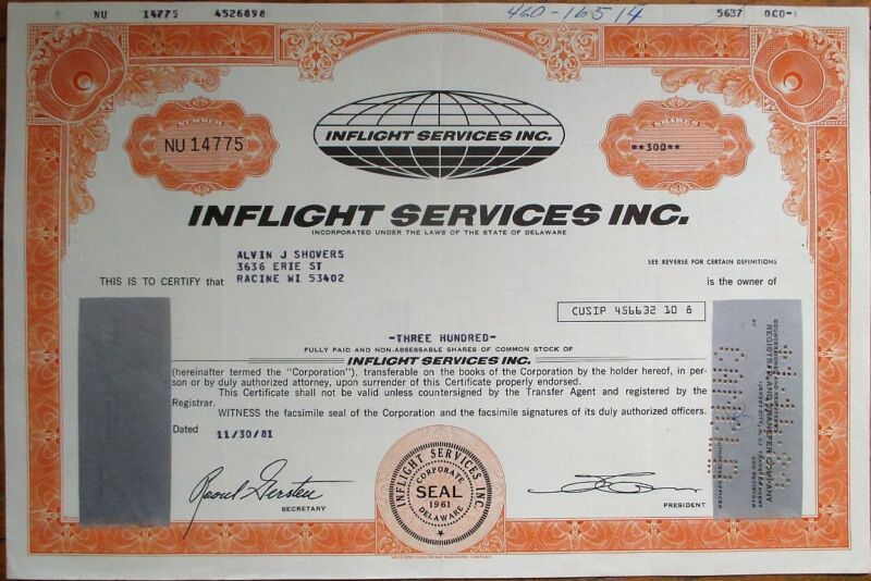 Inflight Services, Inc. 1981 Stock Certificate - Aviation