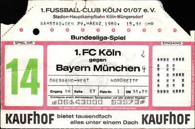 Ticket BL 79/80 1. FC Köln - FC Bayern München, 29.03.1980, Oberrang