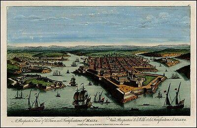 Vögel Eye View Of The Town und Befestigungsanlagen von Malta in 1700s Landkarte