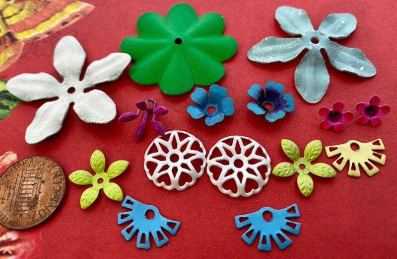 Vintage  Enameled Metal Flower Beads Mix 16