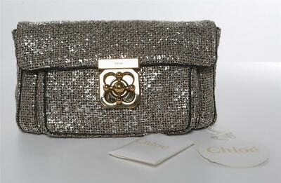 CHLOE Elsie Silver & Mauve Woven Fabric Soft Clutch Gold Lock Bag Handbag NEW for sale  West Hollywood