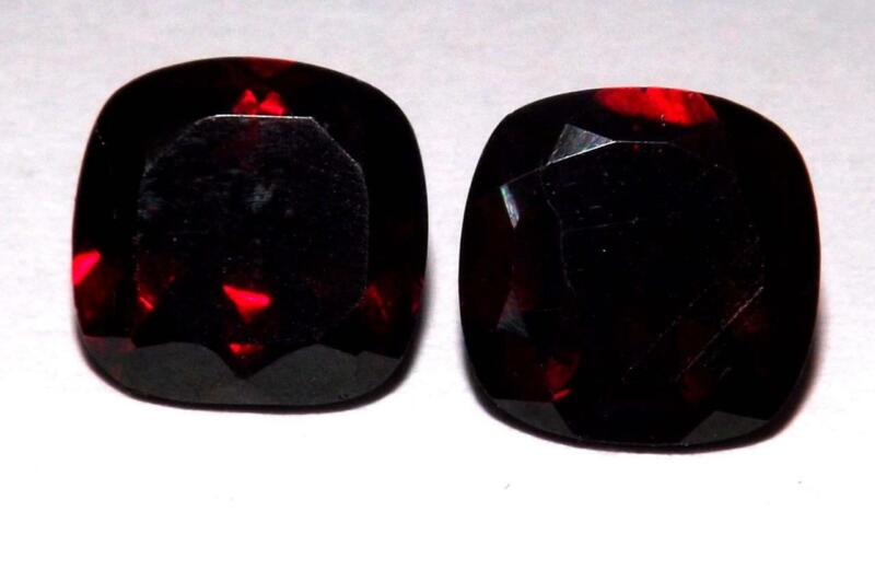 7.20 ct Natural Untreated Mozambique Red Garnet 10 mm  Radiant Cut Pair #bgp57
