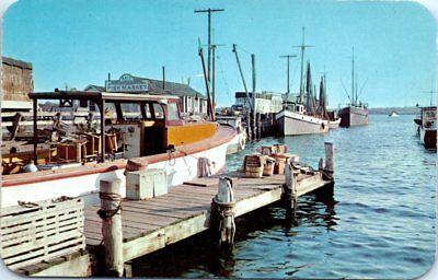 New York Postcard Greenport Long Island NY Eastern End Port Fish Market Boats