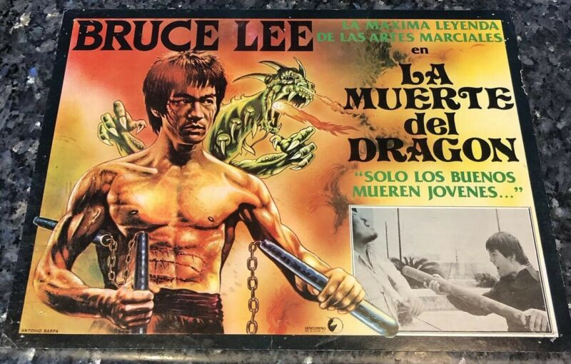 BRUCE LEE LA MUERTE DEL DRAGON MARTIAL ARTS BEAUTIFUL MEXICAN LOBBY CARD