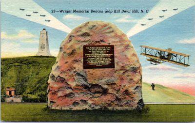 (NC Postcard Kill Devil Hills Wright Memorial Brothers First Flight Airplane Hist)
